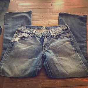 7 for all Mankind Sz 28P distressed flare jeans